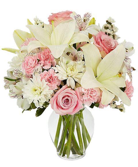 Mazzo Di Fiori Da 40 Euro.Bouquet Purezza Di Fiori Misti Bianchi E Rosa Con Lilium Bianchi E