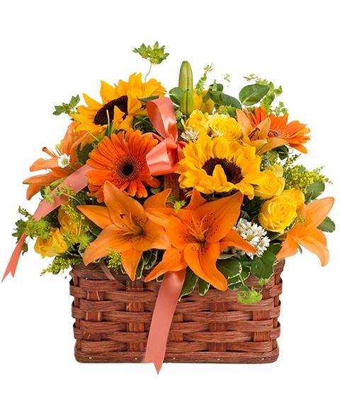 Fiori Arancioni E Gialli.Cesto Di Girasoli Lilium Arancio Rose Gialle Gerbere Arancio E